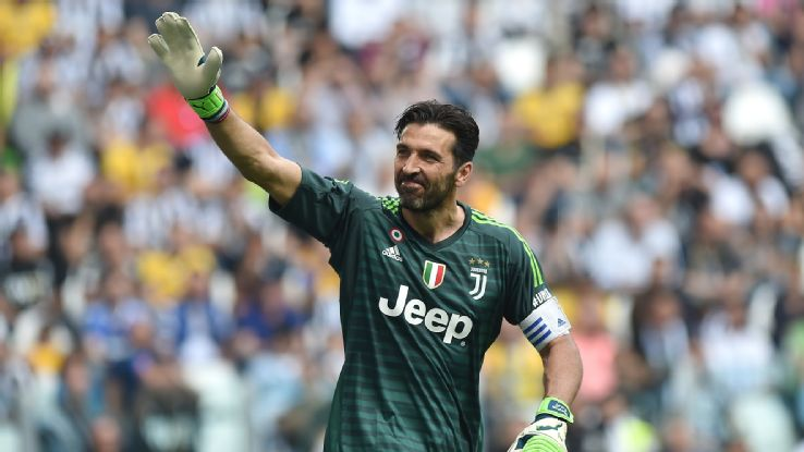 Buffon waves to the crowd as he leaves the field one last time