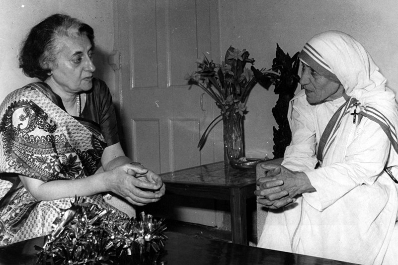 Mother Teresa with Indira Gandhi