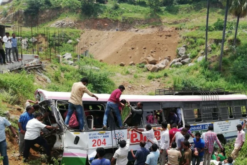 Telegana bus accident claim 45 lives, falls into valley near