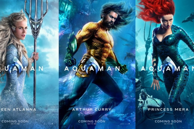 Colourful character posters of DC's Aquaman by Warner Bros