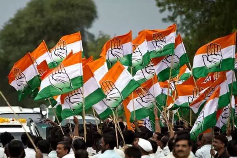 Congress supporters waving flags.