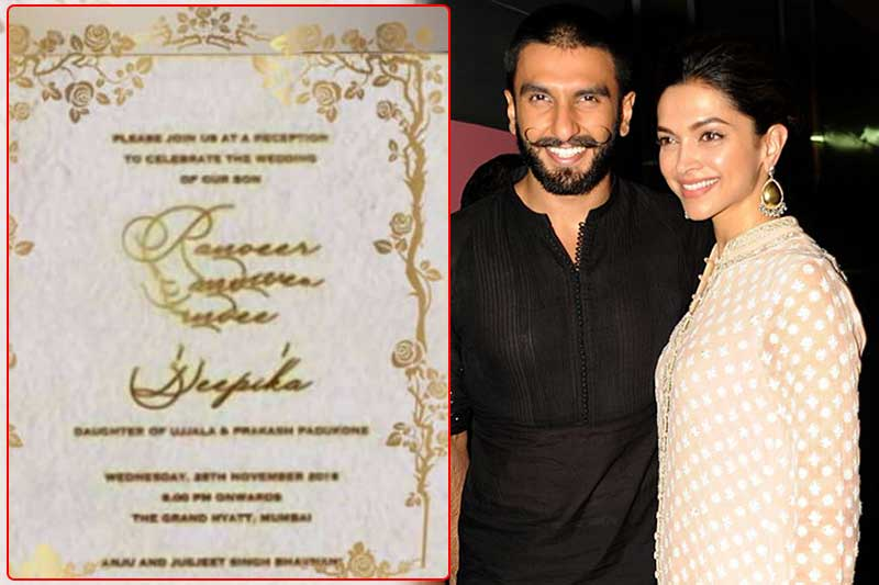 Deepika Ranveer S Mumbai Wedding Reception Card Is Out See Picture
