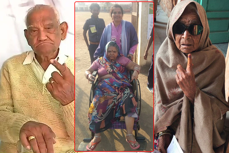 Differently abled old people cast vote