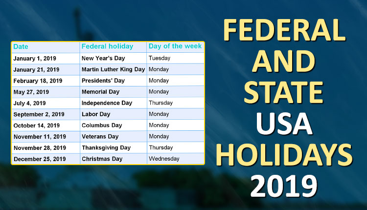 List Of Federal And State USA Holidays 2019 - The Live Mirror