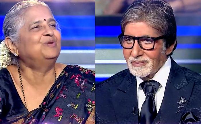 KBC 11: Sudha Murty Gifts Big B a chadar that was stitched by the Devadasis women
